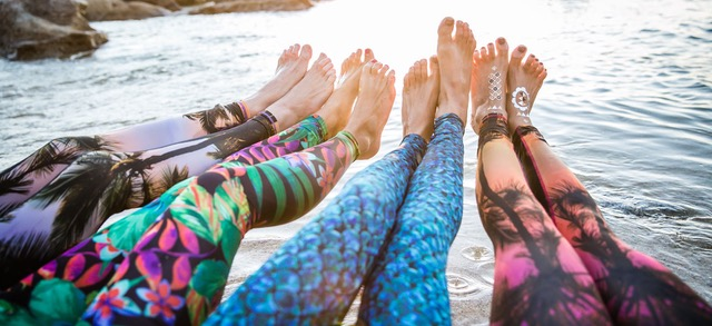 These yoga pants are made from recycled plastic bottles