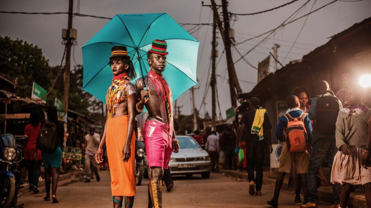The couple wear upcycled outfits and traditional beading: is theirs the flyest wedding in Africa?