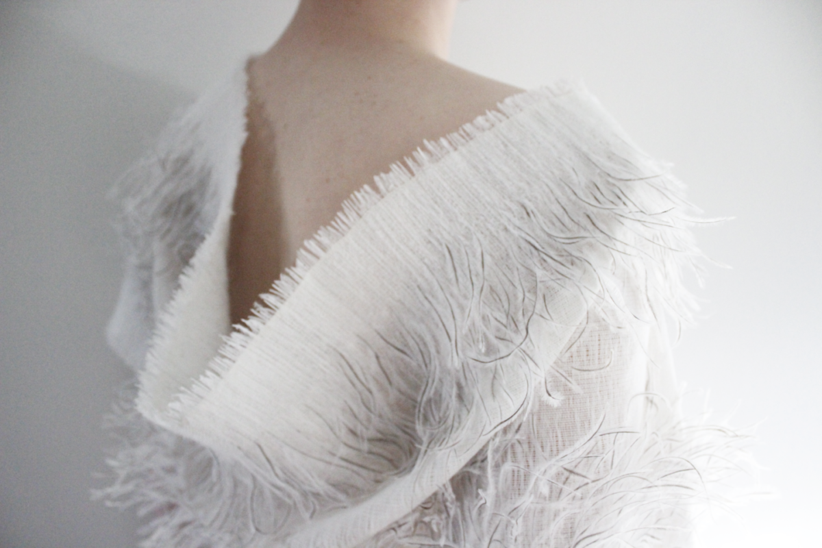 Pascale Theron gives ostrich feathers a new function with her woven fabric