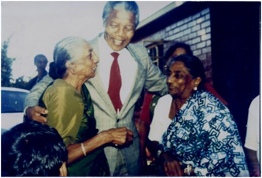 From left, Pavs Pillay's grandmother, Mrs Thayanagee Perumal Pillay and Nelson Mandela. PHOTO: Supplied